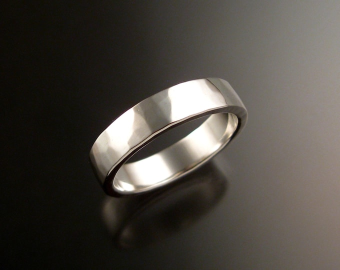 Sterling Silver 2x5 mm rectangular comfort fit Lightly hammered Mans Wedding band Handmade in your size Grooms ring