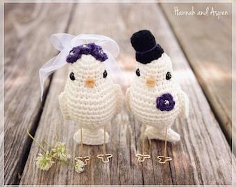 No 1 - topper de la torta de la aves de ganchillo - Crochet novia y novio de aves de aves - pastel de cumpleaños - amor