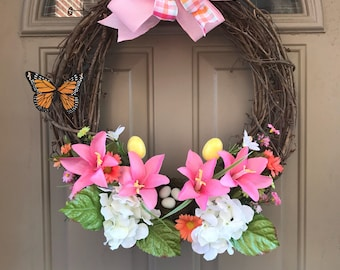 Spring Wreath, Easter wreath, floral wreath, grapevine wreath, spring wreath for front door, butterfly wreath, front door wreath