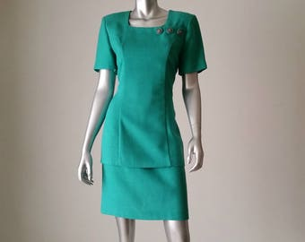 Emerald Green Dress | 80s Dress Small | Wiggle Dress Vintage | Short Sleeve Dress | Square Neck Dress |