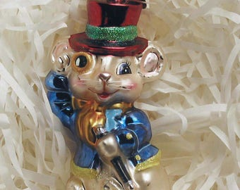 RETIRED - Rare Christopher Radko Mouse ornament - Mouse About Town - Hand Made in Poland #1011036
