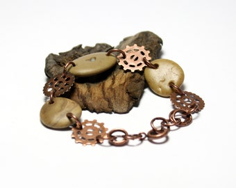Steampunk Jewelry Copper Beach Stone Pebbles Metal Gears : Engraved River Rock Heart Eco Jewelry Bracelet