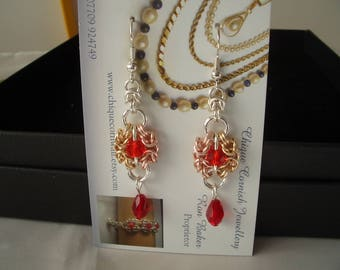 Byzantine Romanov Chainmaille Red Crystal Earrings Rose Gold/Gold/Silver plated rings