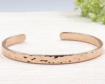 plated hammered Bangle Bracelet rose gold 750/1000