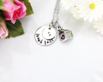 Lunch Lady Necklace, Milk Carton Necklace, Milk Carton Charm, Lunch Lady Charm, School Lunch Charm, Lunch Lady Gift, Personalized Gift, N170