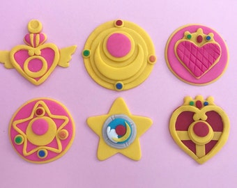 Sailor Moon Brooch and Talisman Fondant Cupcake Toppers