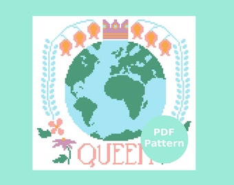 Queen Earth Cross Stitch Sampler Pattern