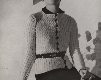 PDF of Minerva's Riverside Two Piece Silver Crepe Suit Knitting Pattern No. 3603, c. 1934