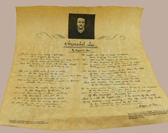 Reproduction Document Collage Sheet - Annabel Lee by Edgar Allan Poe in his own Hand on Faux Parchment