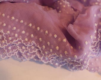 Lavender net lace with embroidery