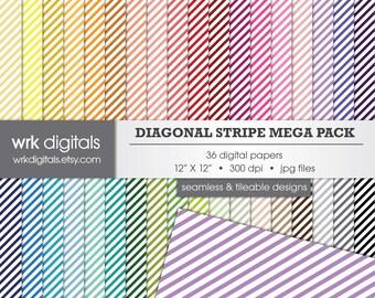 Diagonal Stripe Mega Pack Seamless Digital Paper Pack, Digital Scrapbooking, Instant Download