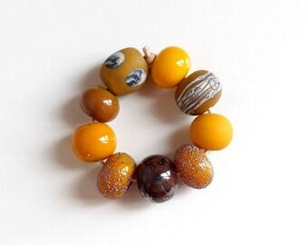Glass bead Lampwork lampwork glass beads vintage ochre of yellow yellow beads Murano glass handmade
