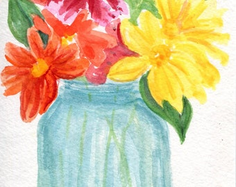 Flowers original watercolor painting in Mason Jars art, Small floral  4 x 6 home decor, gift for her,