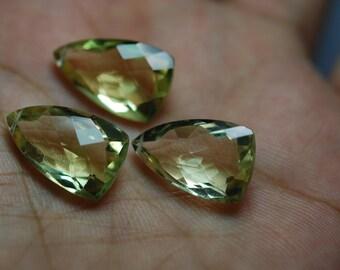 3 Pieces Match Set, Lemon Quartz Faceted Long Trillion Cut Stone BrioletteS,21x11mm