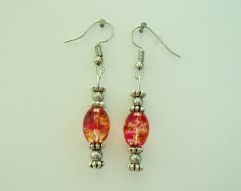 Clear and Orange Barrel Beads with Silver Spacers Earrings