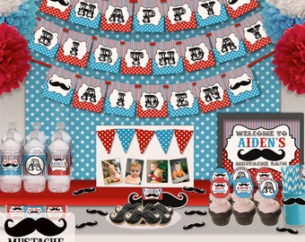 Little Man Mustache Bash Birthday Party Printable Party Decorations Supplies - Super Set Party Kit PK-21
