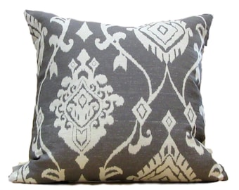 Grey and White Ikat Pillow Cover