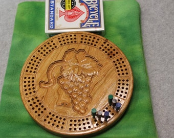 3D Wood Grapes Travel Cribbage Board Made of Cherry Wood