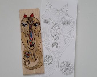 """This stylish """"Horse head"""" wooden bookmark"""