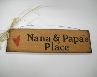 Nana And Papau0027s Place Hand Stenciled Wooden Wall Art Sign Grandparent  Grandmother Christmas Gifts
