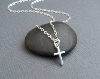 """silver cross necklace. TINY. sterling silver christian jewelry. smooth. simple. dainty. delicate. ready to ship gift for her 3/8"""""""
