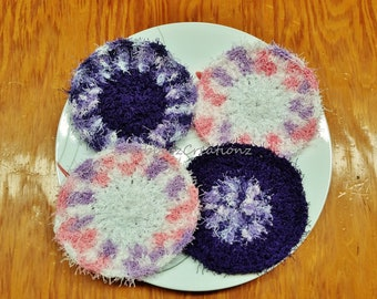 FREE SHIP!  Set of 4 Purple/Pink/White/Variegated Kitchen Scrubbies Sponges Tough Cleaning Scrubbers Vegetable Scrubber, Bath Exfoliator