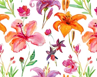 ORIGINAL design, durable and WASHABLE PLACEMAT - watercolor flowers 3 - classic.