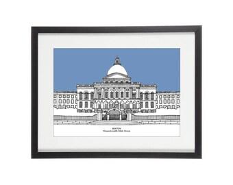 Boston Massachusetts State House | Boston Print | Boston Illustration | Massachusetts State House Print | Boston Landmark Print
