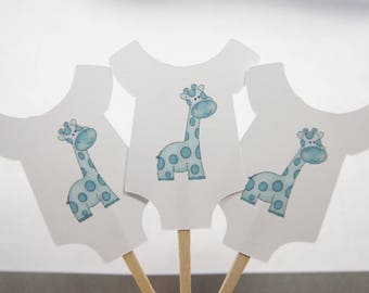 Baby Shower, Cupcake Toppers, Baby Shirt, Blue Giraffe, Boy, Party Picks, Food Picks, CT019
