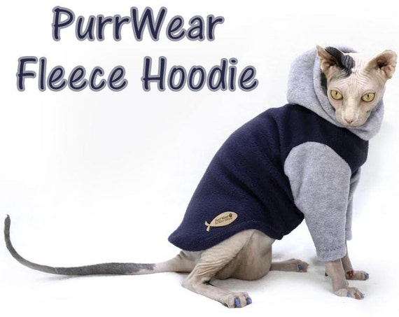 PurrWear Sphynx chat vêtements , Sweat à capuche, Long Manche de Style pour  tous les chats.