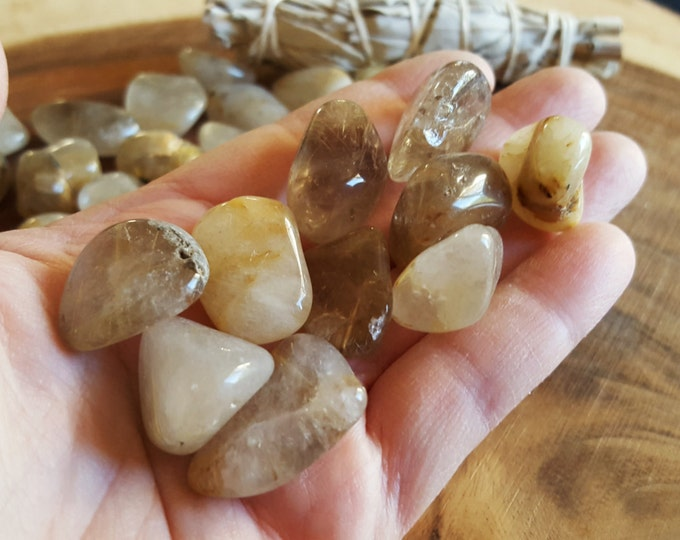 Rutilated Quartz ~ 1 sm/med Reiki infused tumbled stone approx .8-1 inch