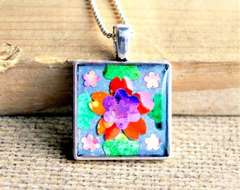 colorful resin pendant, assemblage jewelry, flower pendant, boho jewelry, gift for her, under 25