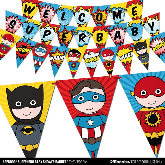 Superhero Baby Shower Banner. Comic Book Theme Bunting Banner. Printable  Pennant Garland. Superheroes Baby Shower Decorations   Digital