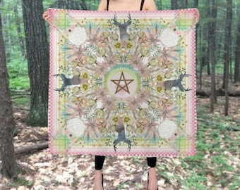 Silk altar cloth, Ostara altar cloth, pagan wheel of the year Spring Equinox, 3 by 3 feet, Large silk scarf, pentagram, tarot cloth, wiccan