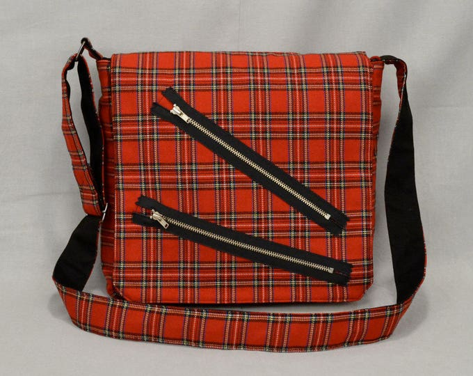 READY TO SHIP Punk Red Plaid Medium Size Messenger Bag, Bondage Pants Style with Zippers, Tablet and Phone Pockets, Ready To Ship