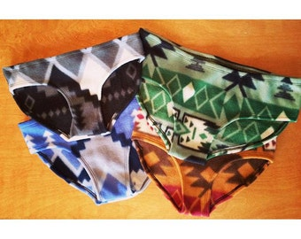Aztec Fleece Panties   Eco Friendly Underwear, Warm Base Layer, Moisture Wick, Hypoallergenic   Panty, Undies, Underwear, Handmade, Period
