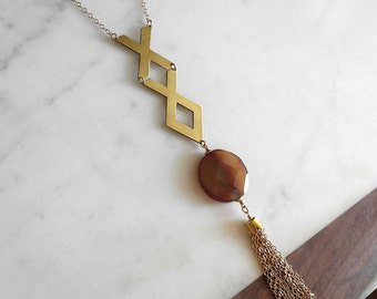 Agate Gold Necklace -Long Necklace, Long Gold Necklace, Agate Necklace, Tassel Necklace, Geometric Necklace, Chain Tassel Necklace