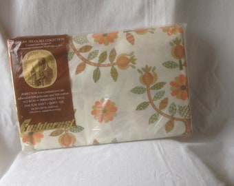 Vintage Linens Vintage Queen Sheet Retro Decor Fieldcrest Patience Rose