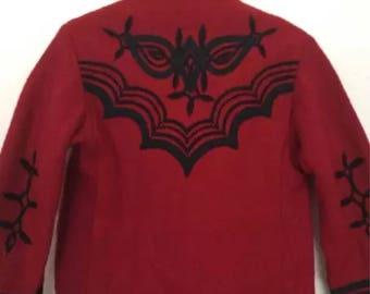 Vintage Kinder Boho Bauern Unisex 80er Jahre ethnischen Stickerei Jacke Mantel 4-5 Y