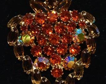 Gorgeous Vintage Rhinestone Strawberry Brooch Amber and Aurora Borealis