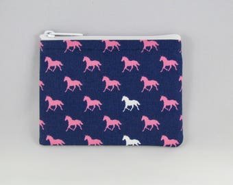 Horses Navy Coin Purse - Coin Bag - Pouch - Accessory - Gift Card Holder