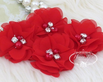 NEW: 4 pcs Aubrey SCARLETT RED - Soft Chiffon with pearls and rhinestones Mesh Layered Small Fabric Flowers, Hair accessories