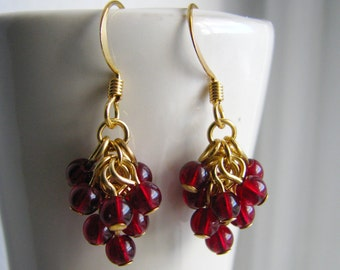 Raspberry Earrings - Glass Bead Cluster Earrings in Deep Red and Gold