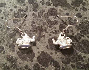 Tea Pot Earrings - Silver Tone - 3-D
