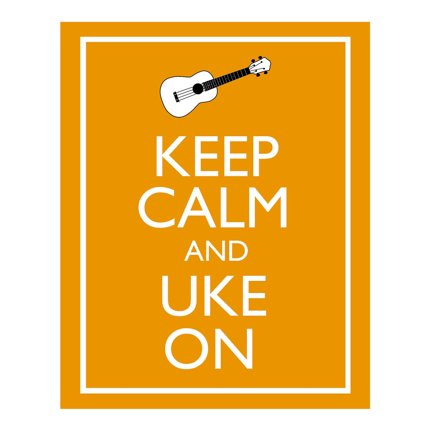 Keep Calm and Uke On Illustration 8x10 Ukulele Wall Art