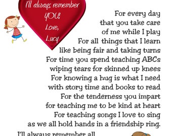 I'll Always Remember Daycare THANK-YOU Poem Wall Art Personalized Print Gift To Child's Provider Childcare Nanny Preschool Teacher