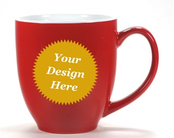 CUSTOM RED Mug, White Inside Coffee Cup