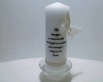 Butterfly Memory Candle /  9 x 3 Dripless Pillar Candle