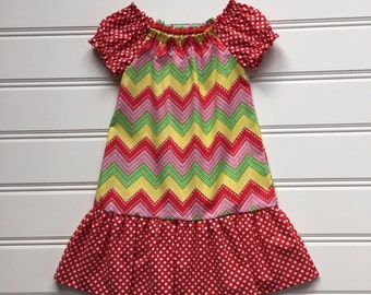 Toddler Summer Dress, Toddler Girl Dress, Girl Summer Dress, Little Girl Dress, Girl Red Dress, Girl Peasant Dress, 2T ready to ship