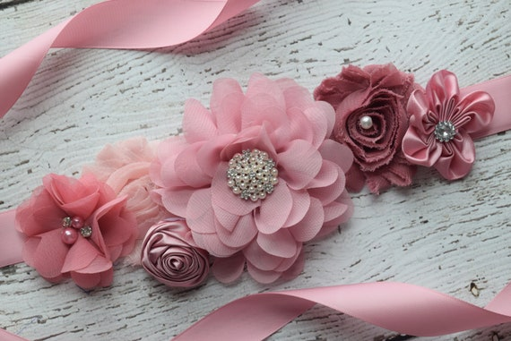Maternity Sash, classic mauve Sash,  flower Belt, maternity sash, wedding sash , flower girl sash belt
